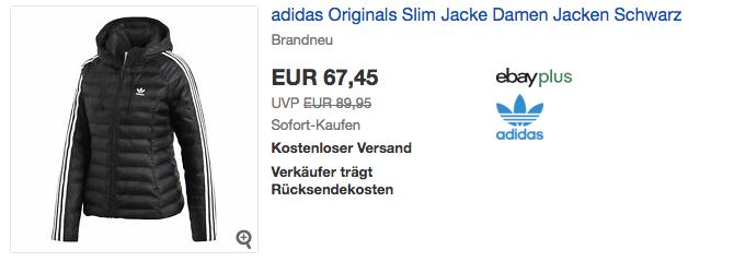 adidas Originals Slim Damen Steppjacke mit für 67,45€ ( 23%)