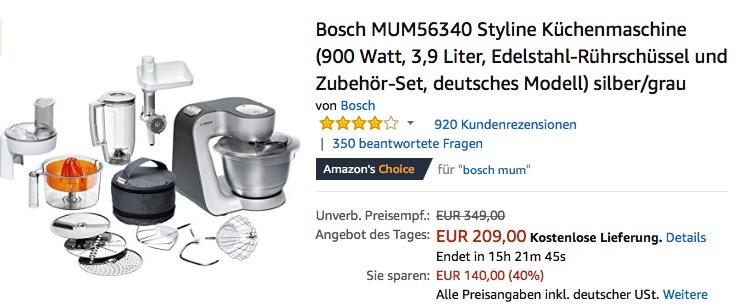 Bosch Mum56340 Styline Kuchenmaschine Fur 209 00 18