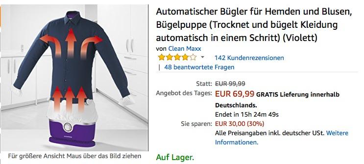 e52fde5223f1 CLEANmaxx automatischer Bügler für Hemden und Blusen - jetzt 13% billiger ·  Klicken Sie hier um Bild zu vergrößern