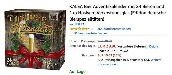 KALEA Bier Adventskalender mit 24 Bieren und 1 exklusivem Verkostungsglas (Edition deutsche Bierspezialitäten) - jetzt 22% billiger