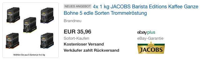 4x 1 kg JACOBS Barista Editions Kaffee Ganze Bohne - jetzt 10% billiger