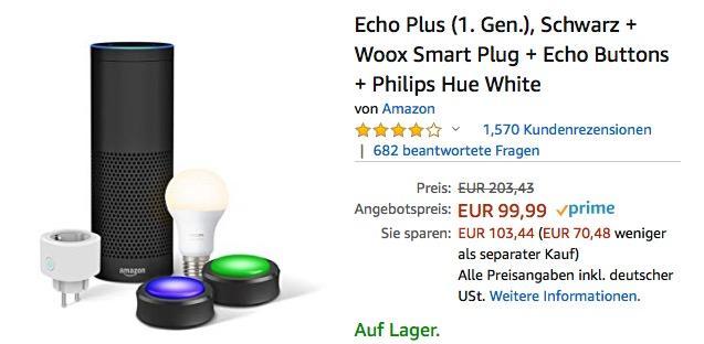 Alexa Geburtstags-Bundle: Echo Plus (1. Gen.), Schwarz + Woox Smart Plug + Echo Buttons + Philips Hue White - jetzt 51% billiger