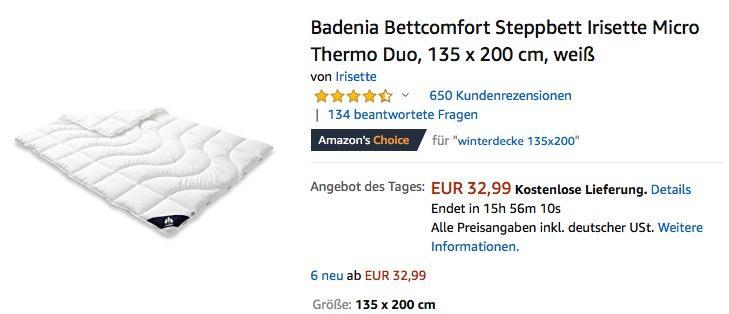 Badenia Bettcomfort Steppbett Irisette Micro Thermo Duo Decke, 135 x 200 cm - jetzt 21% billiger