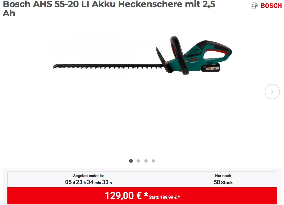 Bosch AHS 55-20 LI Akku Heckenschere mit 2,5 Ah Akku und Schnelllader - jetzt 10% billiger