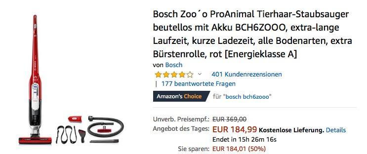 Bosch BCH6ZOOO Zoo´o ProAnimal Tierhaar Akkustaubsauger - jetzt 11% billiger