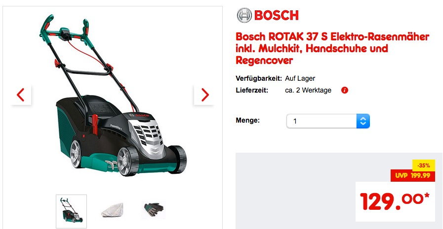 bosch rotak 37 s elektro rasenm her inkl f r 129 00 19. Black Bedroom Furniture Sets. Home Design Ideas