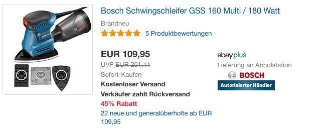 Bosch Schwingschleifer GSS 160 Multi / 180 Watt - jetzt 22% billiger