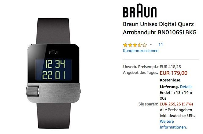 Braun Unisex Digital Quarz Armbanduhr BN0106SLBKG - jetzt 25% billiger
