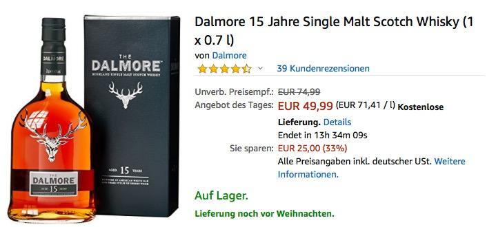 Dalmore 15 Jahre Single Malt Scotch Whisky (1 x 0.7 l) - jetzt 16% billiger