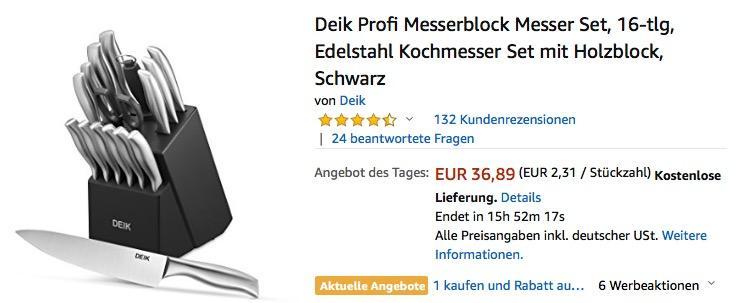 Deik Profi Messerblock Messer Set, 16-tlg - jetzt 33% billiger