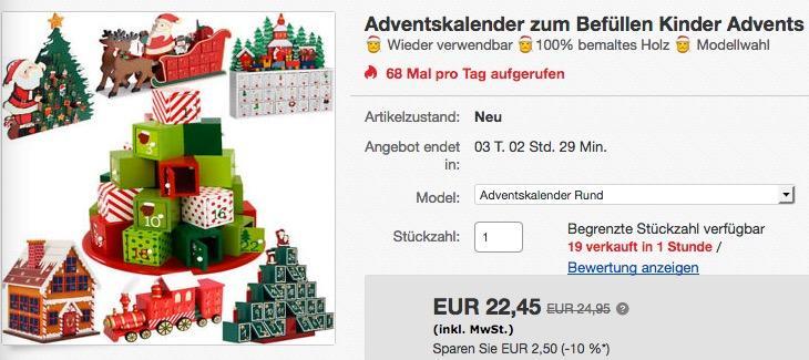 """Deuba Adventskalender """"Rund"""" zum selber Befüllen - jetzt 6% billiger"""