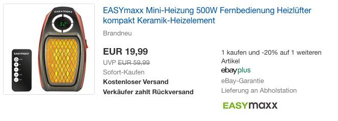 EASYmaxx Mini-Heizung 500W mit Fernbedienung - jetzt 20% billiger
