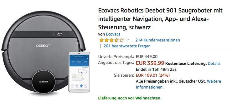 Ecovacs Robotics Deebot 901 Saugroboter mit intelligenter Navigation - jetzt 24% billiger
