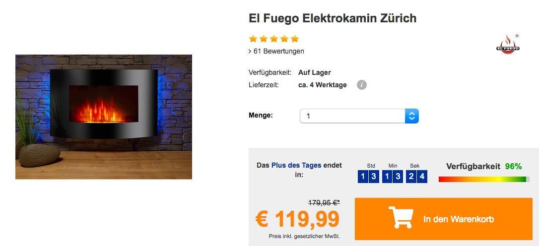El Fuego Elektrokamin Zürich - jetzt 14% billiger