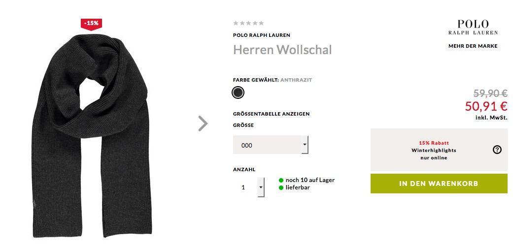 Engelhorn - 15% Extra-Rabatt auf ausgewählte Winterhighlights: z.B.  Polo Ralph LaurenHerren Wollschal - jetzt 15% billiger
