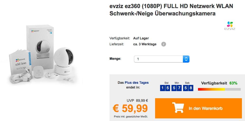 evziz ez360 (1080P) FULL HD Netzwerk WLAN Schwenk-/Neige Überwachungskamera - jetzt 23% billiger