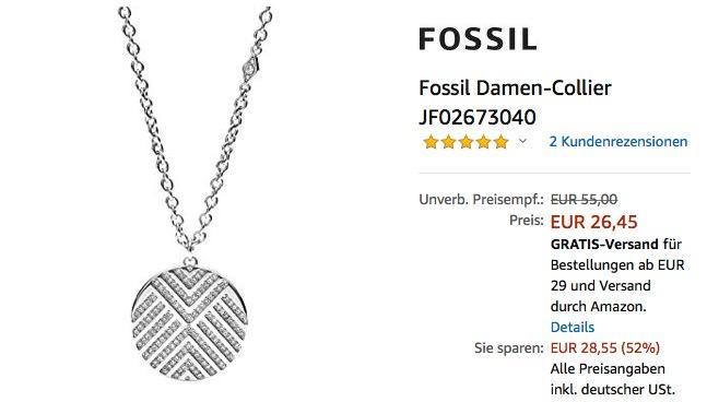 Fossil Damen-Collier JF02673040,  45 cm - jetzt 34% billiger
