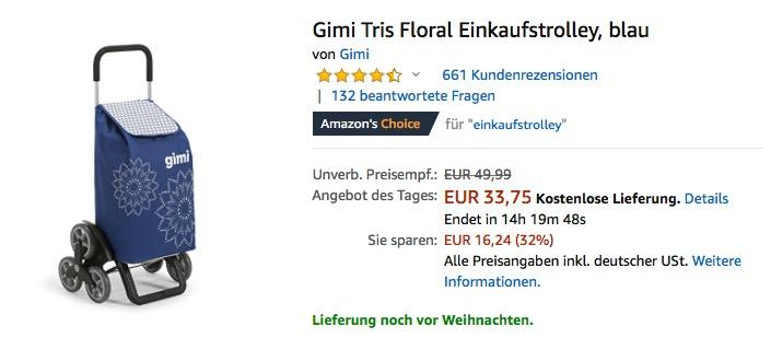 Gimi Tris Floral Einkaufstrolley - jetzt 25% billiger