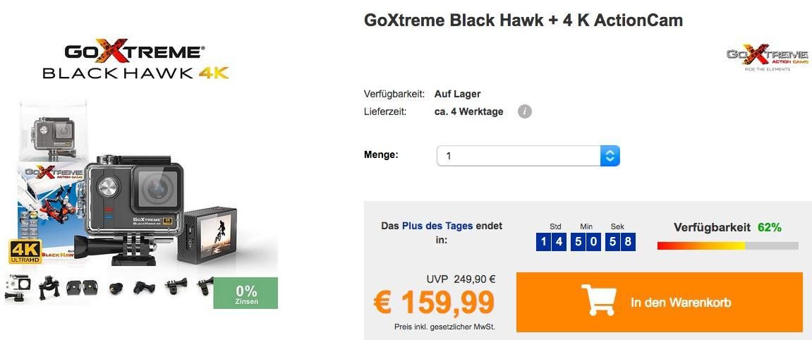 GoXtreme Black Hawk + 4 K ActionCam - jetzt 12% billiger