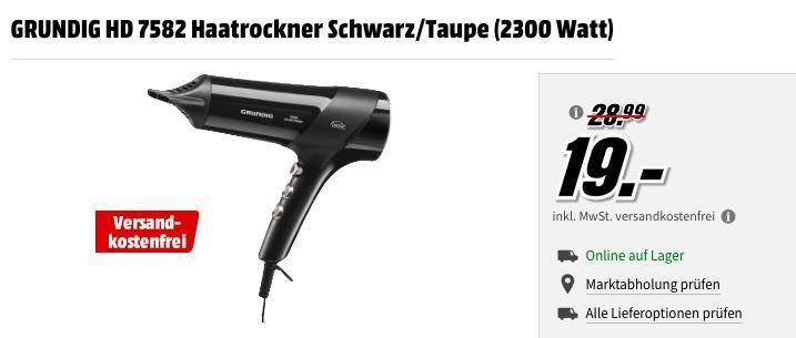 GRUNDIG HD 7582 Haatrockner Schwarz/Taupe - jetzt 25% billiger