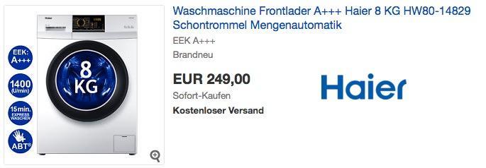 Haier 8 KG HW80-14829 Waschmaschine Frontlader A+++ - jetzt 25% billiger