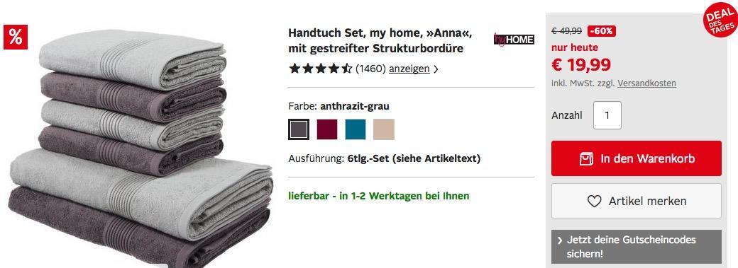"""Handtuch Set """"Anna"""" 6tlg. - jetzt 16% billiger"""