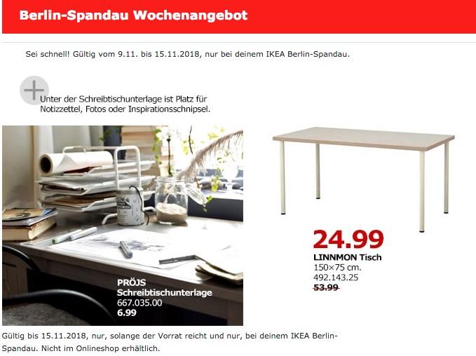 IKEA Berlin-Spandau - LINNMON Tisch - jetzt 54% billiger