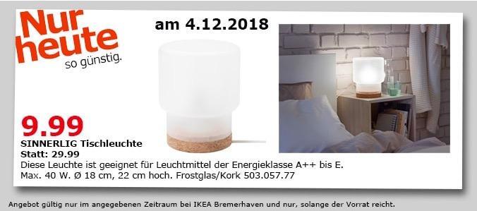 IKEA Bremerhaven - SINNERLIG Tischleuchte - jetzt 67% billiger