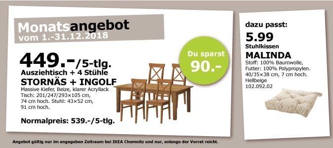 IKEA Chemnitz - STORNÄS Ausziehtisch + INGOLF 4 Stühle - jetzt 17% billiger