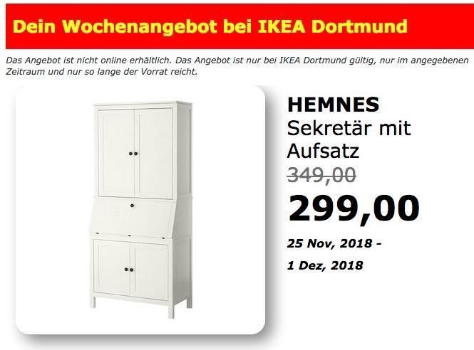 IKEA Dortmund - HEMNES Sekretär mit Aufsatz - jetzt 14% billiger
