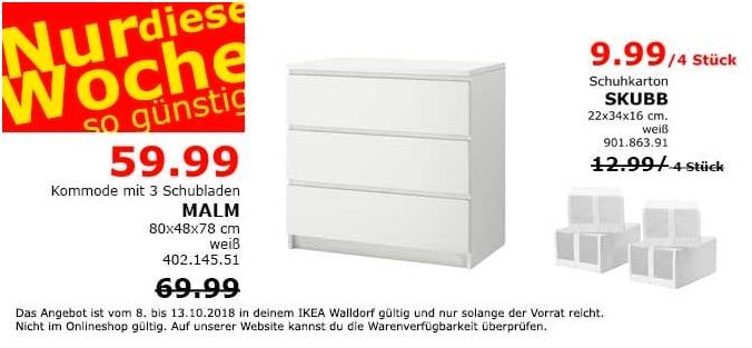 ikea walldorf malm kommode mit 3 schubla f r 59 99. Black Bedroom Furniture Sets. Home Design Ideas