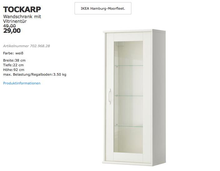 IKEA TOCKARP Wandschrank mit Vitrinentür,... für 29,00€ (-41%)