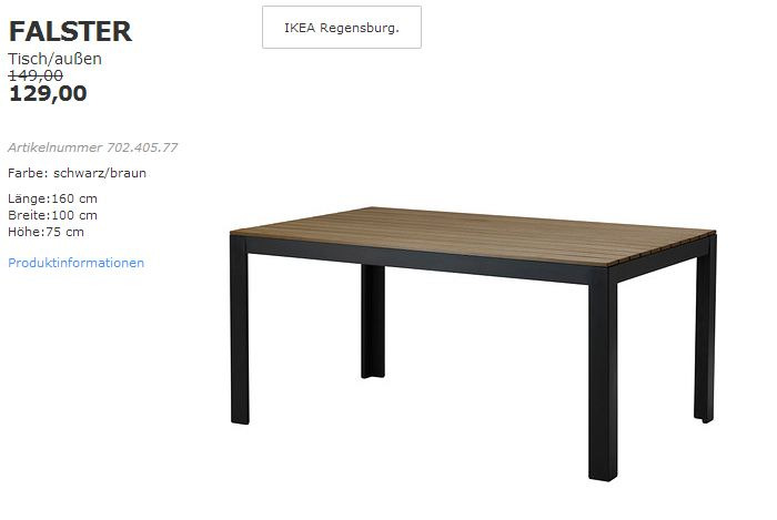 ikea falster tisch au en 160x100 cm 75 f r 129 00 13. Black Bedroom Furniture Sets. Home Design Ideas