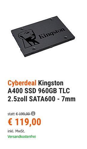 Kingston A400 960GB interne SSD-Festplatte - jetzt 8% billiger