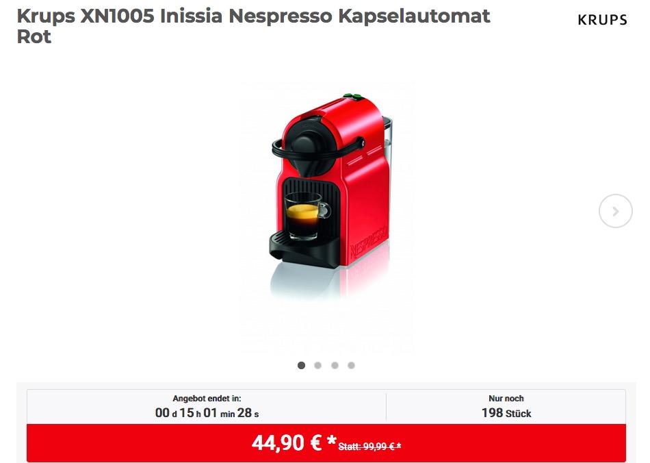 Krups XN1005 Inissia Nespresso Kaffeekapselmaschine Rot mit 14 Kapseln - jetzt 24% billiger