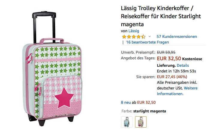 Lässig Trolley Kinderkoffer / Reisekoffer in Starlight Magenta - jetzt 32% billiger