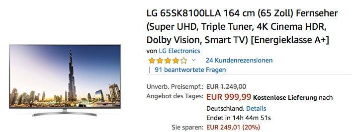 LG 65SK8100LLA 164 cm (65 Zoll) Super UHD Fernseher - jetzt 15% billiger