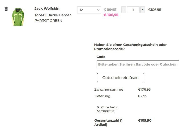 McTREK.de - 23€ Gutschein ab 123€ Einkaufswert: z.B. Jack Wolfskin Topaz II Damen Wetterschutzjacke - jetzt 17% billiger