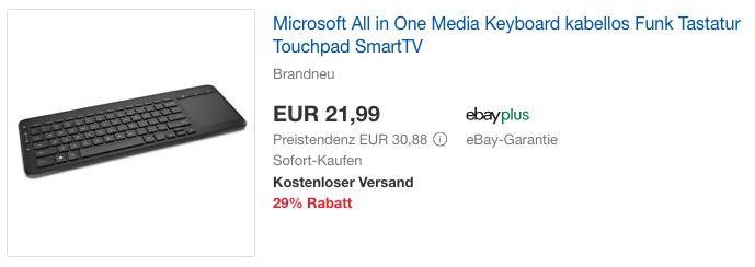 Microsoft All in One Media KeyboardTastatur mit Touchpad - jetzt 23% billiger