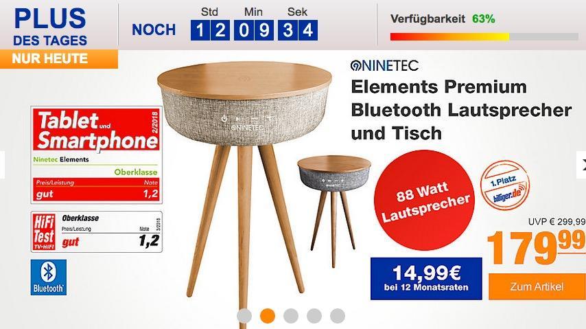 Ninetec Elements Premium Bluetooth Lautsprecher und Tisch - jetzt 38% billiger