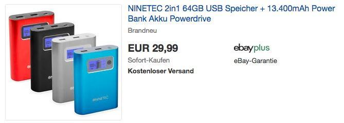 NINETEC PowerDrive 2in1: 64GB USB Speicher und 13.400mAh Power Bank - jetzt 50% billiger