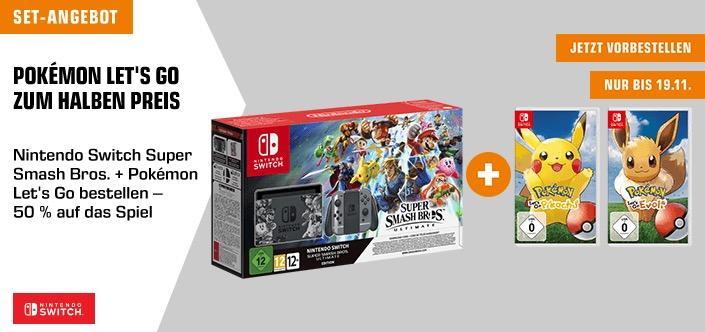 NINTENDO Switch Super Smash Bros Ultimate Edition Spielkonsole + Pokemon Let's Go Pikachu oder Evoli - jetzt 7% billiger