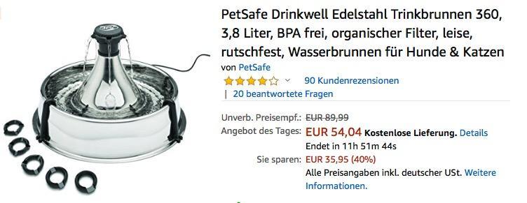PetSafe Drinkwell 360 Edelstahl Trinkbrunnen für Hunde & Katzen - jetzt 25% billiger