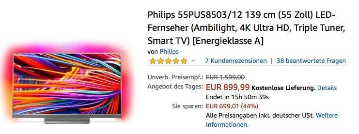 Philips 55PUS8503/12 139 cm (55 Zoll) Ultra-HD Fernseher mit 3-seitigem Ambilight - jetzt 18% billiger