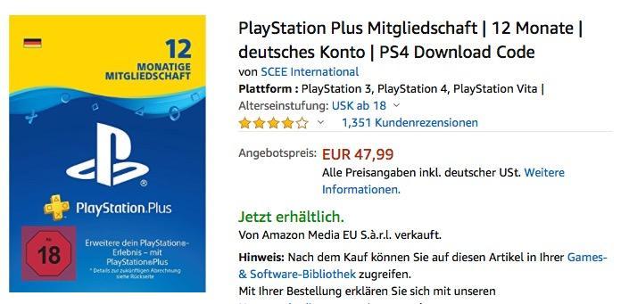 PlayStation Plus Mitgliedschaft 12 Monate, Download Code - jetzt 20% billiger