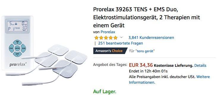 Prorelax 39263 TENS + EMS Duo Elektrostimulationsgerät, 2 Therapien mit einem Gerät - jetzt 18% billiger