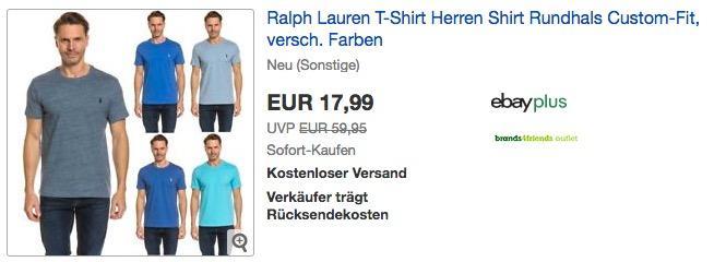 Ralph Lauren Herren T-Shirt Rundhals Custom-Fit - jetzt 25% billiger