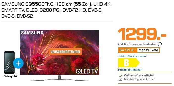 Samsung GQ55Q8FN 138 cm (55 Zoll) 4K QLED Fernseher inkl. - jetzt 16% billiger