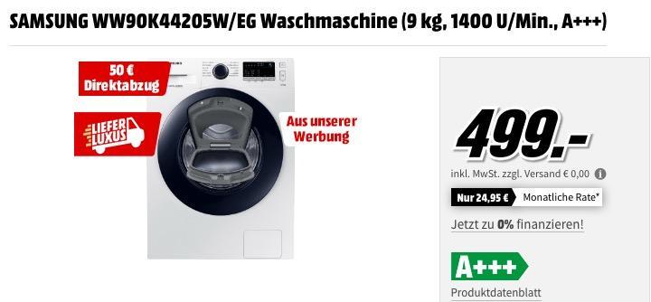 SAMSUNG WW90K44205W/EG Waschmaschine (9 kg, 1400 U/Min., A+++) - jetzt 10% billiger