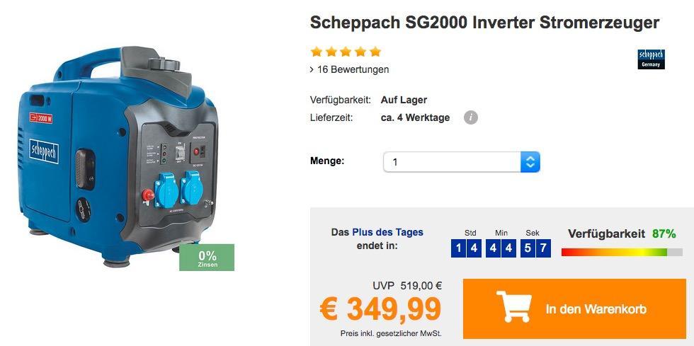 Scheppach SG2000 Inverter Stromerzeuger (max. 2.000 W Abgabeleistung) - jetzt 5% billiger